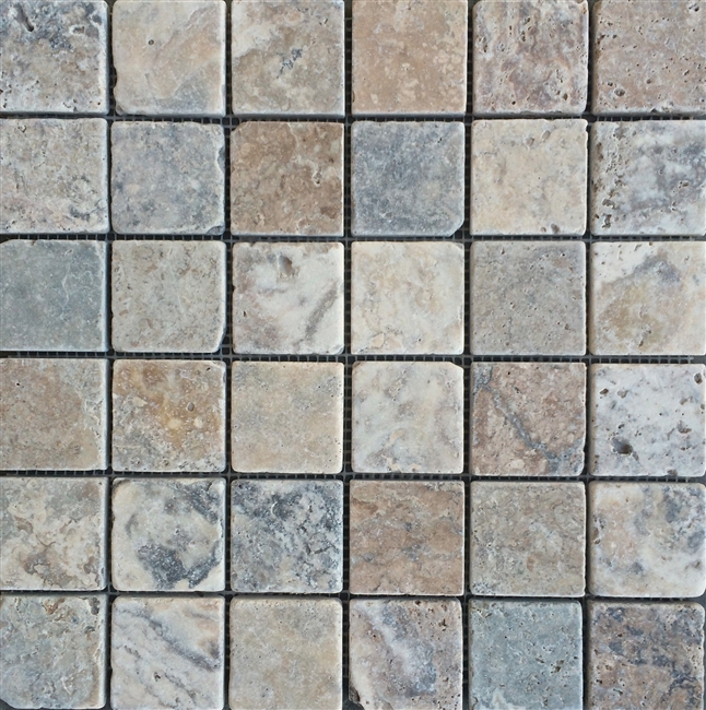 Antique Onyx 2x2 Tumbled Travertine Mosaic Tile