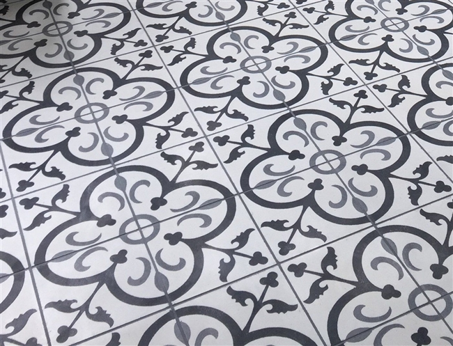 Black White Gray Floral 8x8 Cement Tile