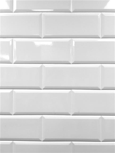 White 4x10 Beveled Shiny Ceramic Subway Tile