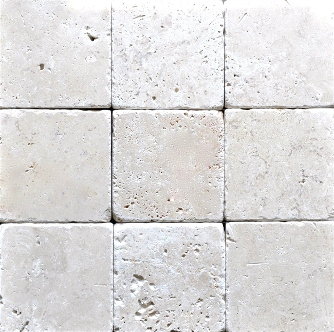 Tumbled Light Beige Stone Effect Travertine Wall Floor: Light 4x4 Tumbled Antiqued Travertine Tile